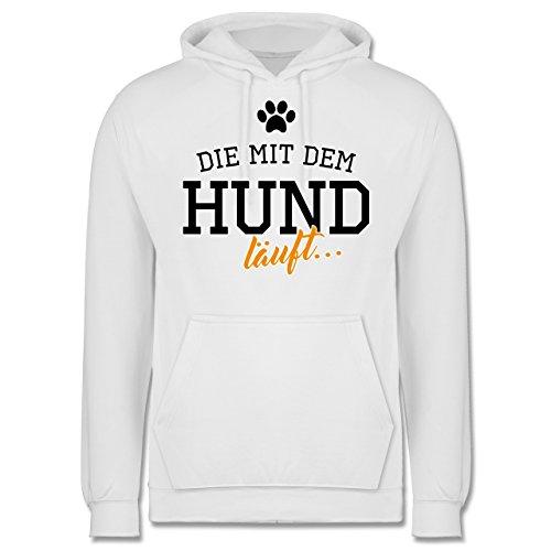 Hunde - Die mit dem Hund läuft - Männer Premium Kapuzenpullover / Hoodie Weiß