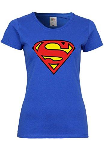 n T-Shirt mit Motiv Superman, Größe:S, Farbe:Royal Blue (Superman Weibliche Kostüm)