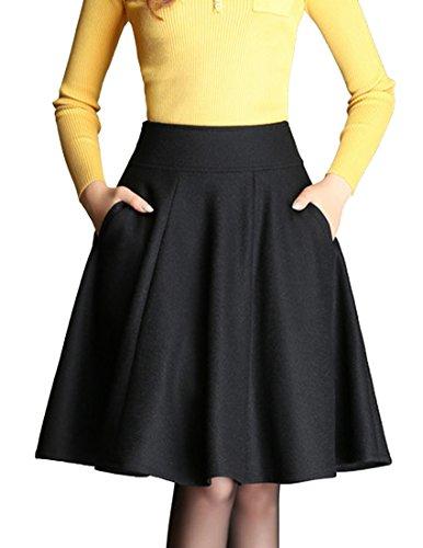 helan-womens-woolen-high-waist-a-line-knee-length-skirts-black-uk-10
