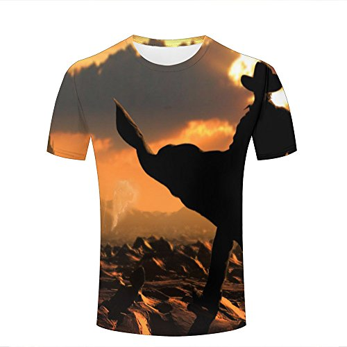 LizzieYun Unisex 3D Graphic T-Shirt Printed Dark Clouds Tower Novelty Fashion Couple Tees