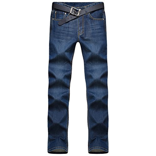 Honghu Herren Slim Fit Jeans Hosen Casual Neu Trend Regular Straight Dunkelblau