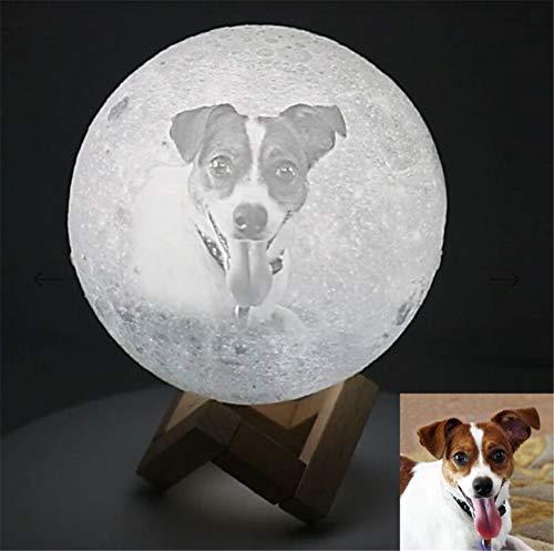 Persönlichkeit Foto Mind-Glowing 3D Christmas Lamp wiederaufladbare Lunar Night Light(Weiß 4.7inch/12cm)