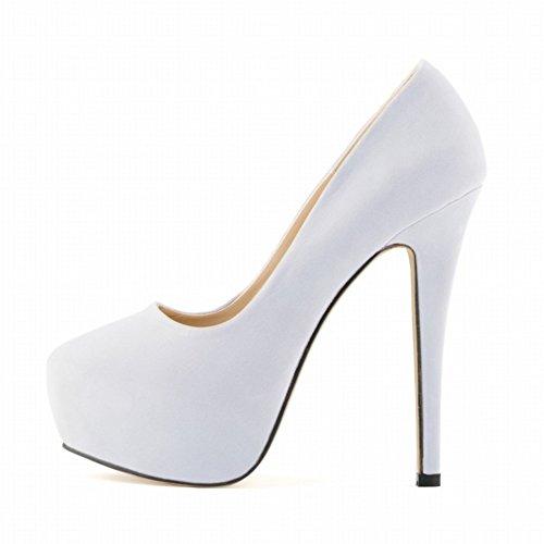 HooH Femmes Simple Daim Bonbons Couleur Platform Robe Escarpins Blanc