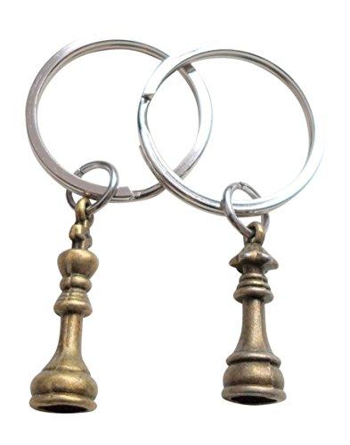 Bronze Schachfigur Anhängsel Schlüsselanhänger, König und Königin Set - Paare Schlüsselbund