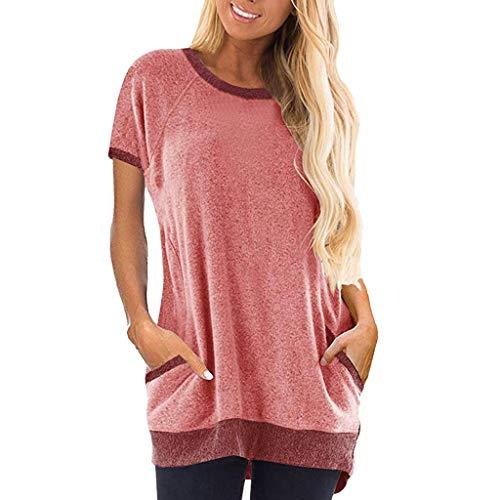 Estate t-shirt, t-shirt donna overdose tasca cotone e lino sciolto tempo libero maniche corte camicetta con camicie moda carino slim fit blusa