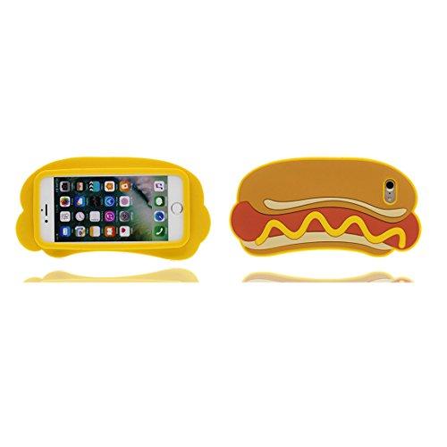 """iPhone 6s Hülle, TPU Dauerhaft Weich Shell Flexible iPhone 6 / 6S Handyhülle Cover 4.7"""" Staubdicht (3D Cartoon Schwein Stripe) - rosa gelb"""
