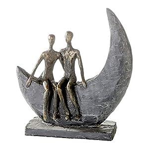 Casablanca - Skulptur Moon - aus Poly bronzefarben auf Basis H 23,5 cm