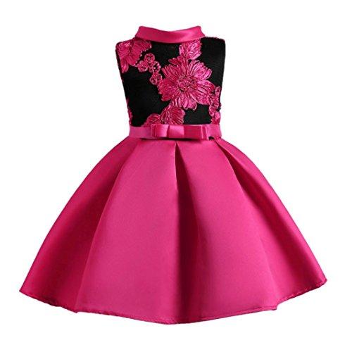 JERFER Blume Mädchen Prinzessin Brautjungfer Festzug Tutu Tüll-Kleid Party Hochzeit Kleid 3-8T/Jahre (Heißes Rosa, 4T) - 4t Jacke Leder Jungen