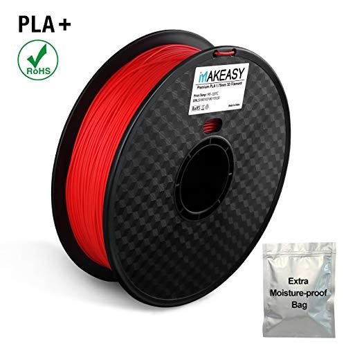 Filament PLA+, MAKEASY PLA Filament 1,75 mm 1KG Rolle in Vakuumverpackung für 3D Drucker oder Stift mit Extra Tasche, 10 Farben (rot)