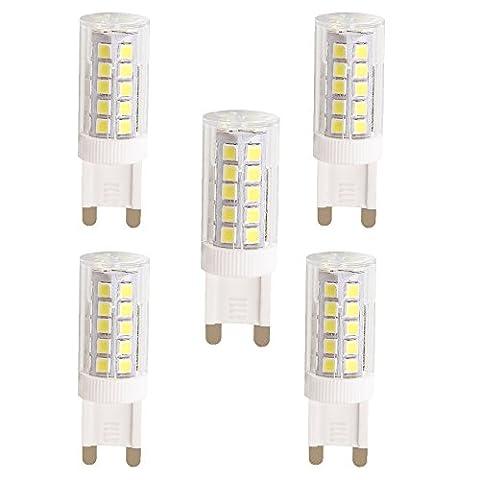 WULUN LED Lampe Birne G9 Energiesparlampe, 5 Watt ersetzt diese LED 50W Halogen-Lampe, 450 Lumen, AC 220-240V, 6000K, Bi-Pin Lampe, Coolweiß,5Stück in jeder Packung, SMD 2835 Leds, 360º Abstrahlwinkel