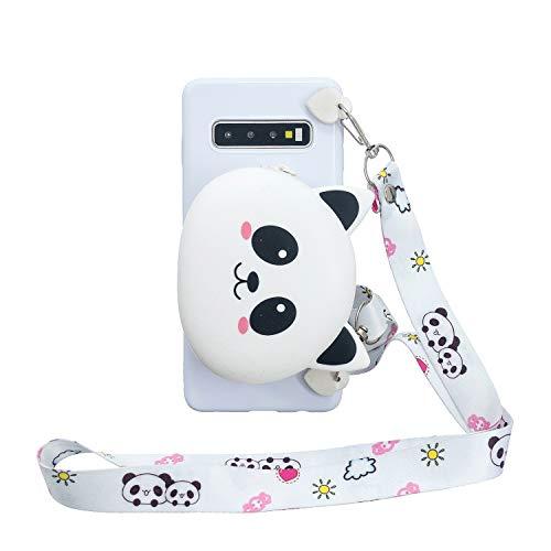 FNBK Brieftasche Hülle für Samsung Galaxy S10,3D Tiere Weich Karikatur Handbag Handyhülle Silikon Handytasche Case mit Trageschlaufe,Schön Kinder Mädchen Schutzhülle,Panda