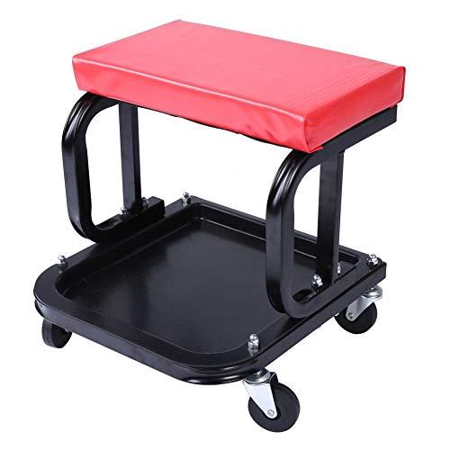 Chaise de Garage, Siège d'Atelier Tabouret à Roulettes de Travail Tabouret de Mécanicien pour Automobile Barbecue Voyage Pêche