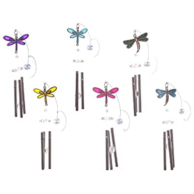 Window Sucker Stained Glass Effect Dragonfly Wind Chime