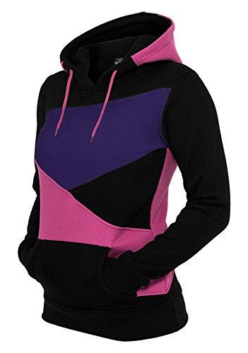 URBAN cLASSICS zig zag sweat zippé à capuche pour femme tB347 coupe slim-différents coloris Multicolore - black/fuchsia/purple