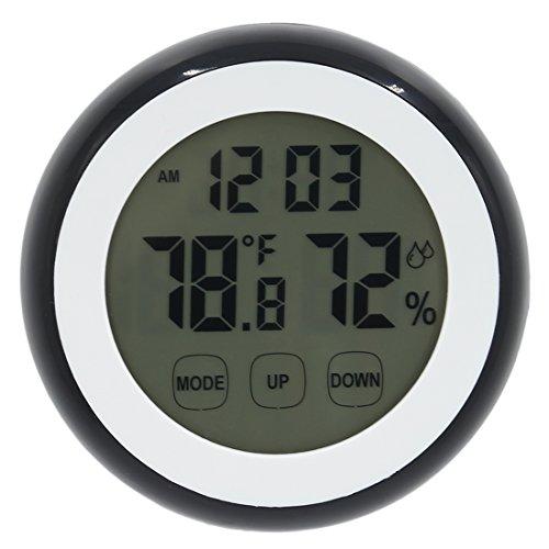 Thermometer Wanduhr, Lommer 2In1 Digital Touch Bildschirm Tischuhr Thermometer und Hygrometer Uhr mit Timer Countdown Alarm