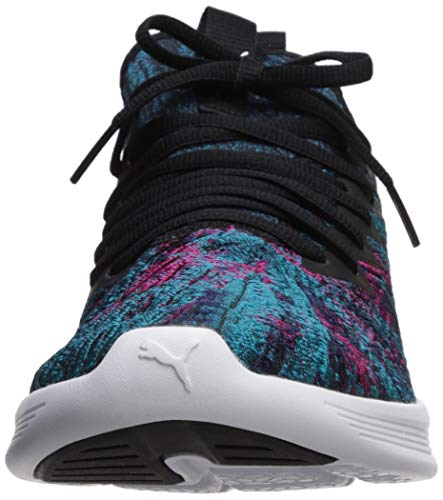 PUMA Women s Ignite Flash GEO Sneaker  Hawaiian Ocean Black-Beetroot Purple  6 M US