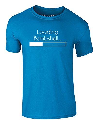 Brand88 - Loading Bombshell..., Erwachsene Gedrucktes T-Shirt Azurblau/Weiß