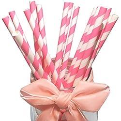 BOFA colorido rayas papel pajitas 19,7cm rosa rayas (paquete de 100)
