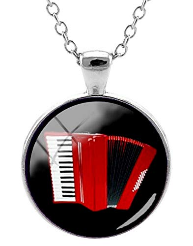 Unbekannt Générique Halskette mit Anhänger, Bedruckt, Akkordeon, Rot