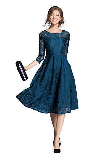 Damen Vintage Rundhals Flare 3/4 Ärmel Knie Lang A Linie Stickerei Spitze Kleid Party Cocktail Abendkleid Blau M (Eine Der Knie Kleider Unterhalb Linie)