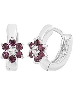 In Season Jewelry Mädchen - Creolen Ohrringe Kleine Blume Rhodiniert Lila Weißer Kristall 7mm