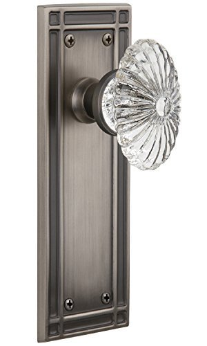 Nostalgic Warehouse Mission Plate with Oval Fluted Crystal Knob Single Dummy Knob, Antique Pewter by Nostalgic Warehouse Fluted Crystal