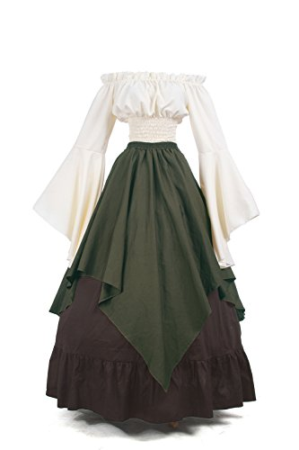 Nuoqi Mittelalterliches Kostüm Women lange Ärmel Renaissance-Kleid XL-2 (Mittelalterliche Kostüm Korsett)