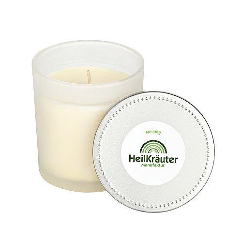 Heilkräuter Manufaktur Bio-Heil-Kräuter-Kerze für Heilung - Handarbeit aus Rapswachs und natürlichen Heilkräutern. Im Glass mit Deckel - Bio-aromatherapie-kerze
