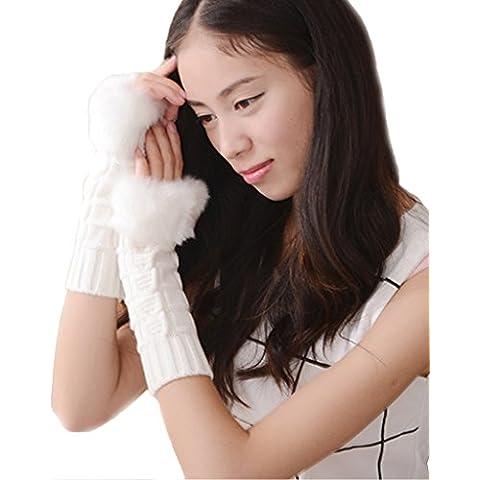 Minetom Donna Inverno Guanti Senza Dita Gloves Lana Intrecciato Scaldabraccia Morbido Pelliccia Guanti