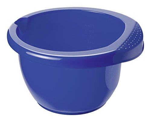 Rotho Rührschüssel Onda aus Kunststoff (PP), mit ergonomischem Griff, Antirutsch-Gummiring, Ausgussmulde, Inhalt ca. 4 l, ca. 28.5 x 28 x 16.5 cm (LxBxH), blau