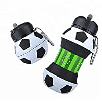 Kids Water Bottle Football School with Straw- Collapsible, Fall Resistant, Last Water Bottle You