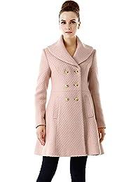 BGSD Women's Wool Blend Shawl Collar Walking Coat