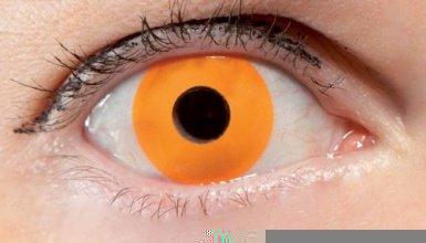 Lentillas de contacto naranja fluorescente - Única