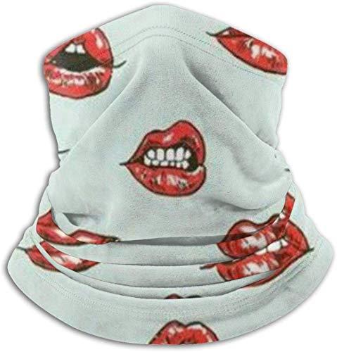 Fleece Neck Warmer Men & Women Soft Mask Red Lips Action Pattern Neck Gaiter Tube Ski Face Mask Balaclava Half Mask Motorcycling Face Scarf Bandana, Mask, Headband & Beanie
