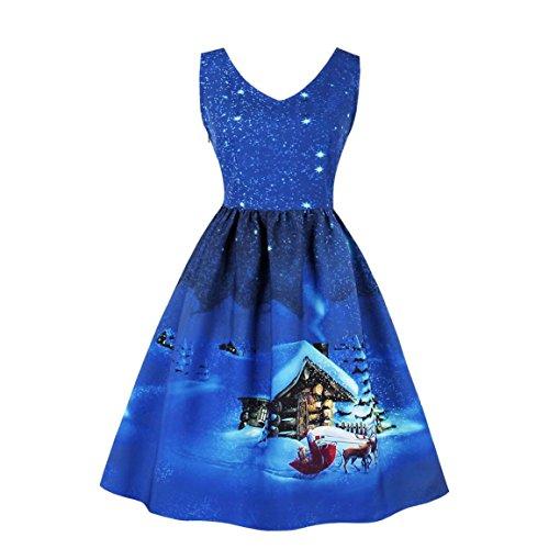 (Damen Vintage Weihnachtskleid,Moonuy Frühling / Herbst Casual Plus Size Damen Mädchen Santa Christmas Party Kleid Vintage Xmas Swing Skater Kleid für täglich, Strand (Blau, L))