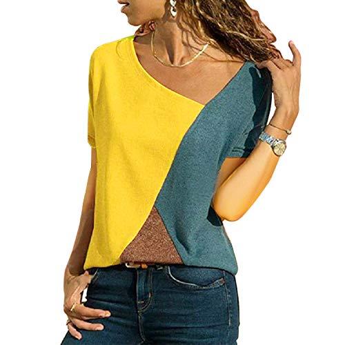 UPhitnis OberteileDamen Tunika Tops T-Shirt Bluse Damen Casual Patchwork Farbblock Oberteil Asymmetrischer V-Ausschnitt Tunika T-Shirt