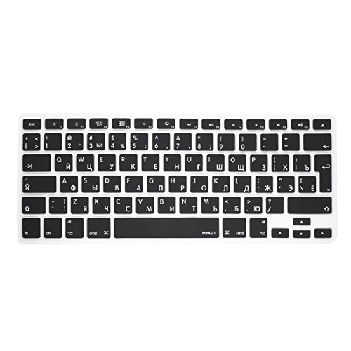 "Price comparison product image MiNGFi Russian Keyboard Cover for MacBook Pro 13"" 15"" 17"" Aluminum Unibody and MacBook Air 13"" European/ISO Keyboard Layout Silicone Skin - Black"