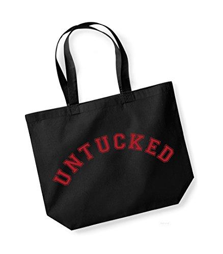 Untucked - Large Canvas Fun Slogan Tote Bag Black/Red