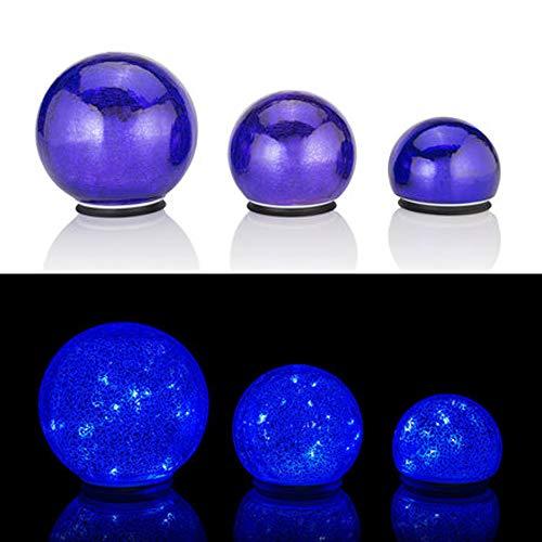 Online-Fuchs 3er Set Glaskugeln mit LED Lichterkette inkl. Timer - In und Outdoor geeignet - Deko Kugeln in Bruchglasoptik - LED Beleuchtung (Royalblau)