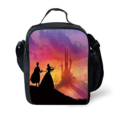 MLNHY School Supplies Fantasy,Silhouette of Prince and Princess Magical Castle House Fairytale Dream Girls Image,Multicolor for Girls or Boys Washable
