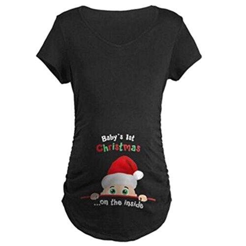 Gagacity Witzige Umstandsmode Shirt Langarm lustiges Umstands Shirt wächst mit dem Bauch Stretch Tshirt Schwangerschaft Geschenk Kurzarm