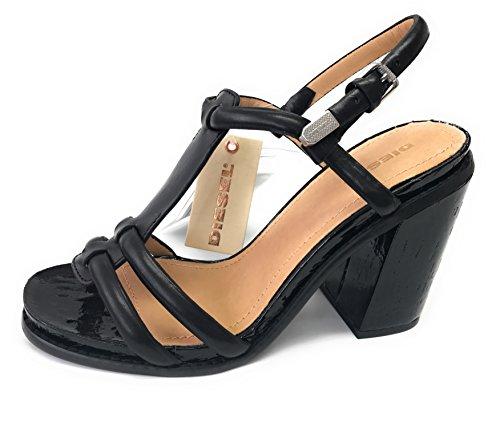 Diesel Laissha Plateau Sandalette, Lackleder High Heels, 100% Leder Pumps, Schwarz, Größe 39