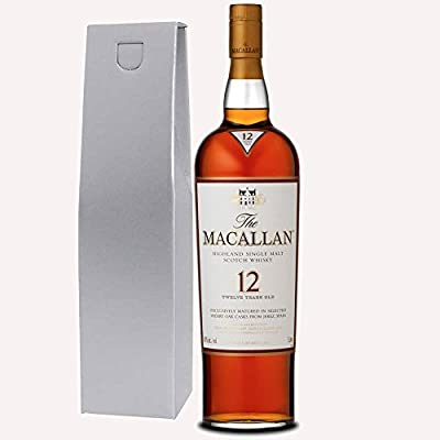 The Macallan Sherry Oak 12 Year Old Single Malt Whisky 70cl Bottle in Silver Gift Box with Happy Mothers Day Gifts2Drink Tag