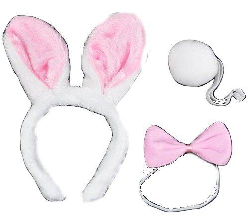 SODIAL(R) Tier Haustier Druck Set Kaninchen Ohren Schwanz Fliege Fancy Dress (Gestreifte Tiger Kostüme)