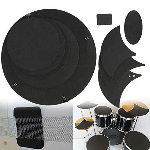 HshDUti 10 Stücke Bass Snare Drum Sound Beseitigen Sie Ruhe Stumm Drumming Praxis Pad Set Black - Drum Bass Mute