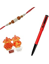 Parker Beta Standard Ball Pen Red Body with Rudraksha Rakhi