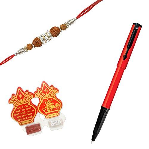 Parker Beta Standard Ball Pen Red Body with Rudraksha Rakhi