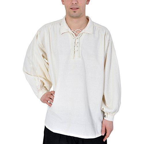 Piratenhemd mit klassischem Kragen Gr. L Mittelalter Gothic natur (Hemd Piraten Herren)