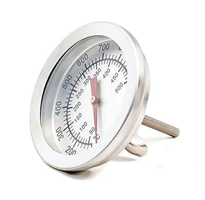 HomeTools.eu® - Temperatur-Beständiges analoges BBQ Grill Koch Thermometer | zum Nachrüsten für BBQ Grill Töpfe Bräter Räucherofen | 10°C - 350 °C