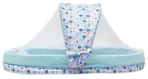 Amardeep and Co XXL Mattress with Mosquito Net and Bumper Guard Teddy (Blue) - MT-06-blue-teddy